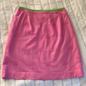 Lilly Pulitzer pink palm tree skirt sz 4